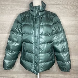 Green Puffer Coat Size Large by J.Crew
